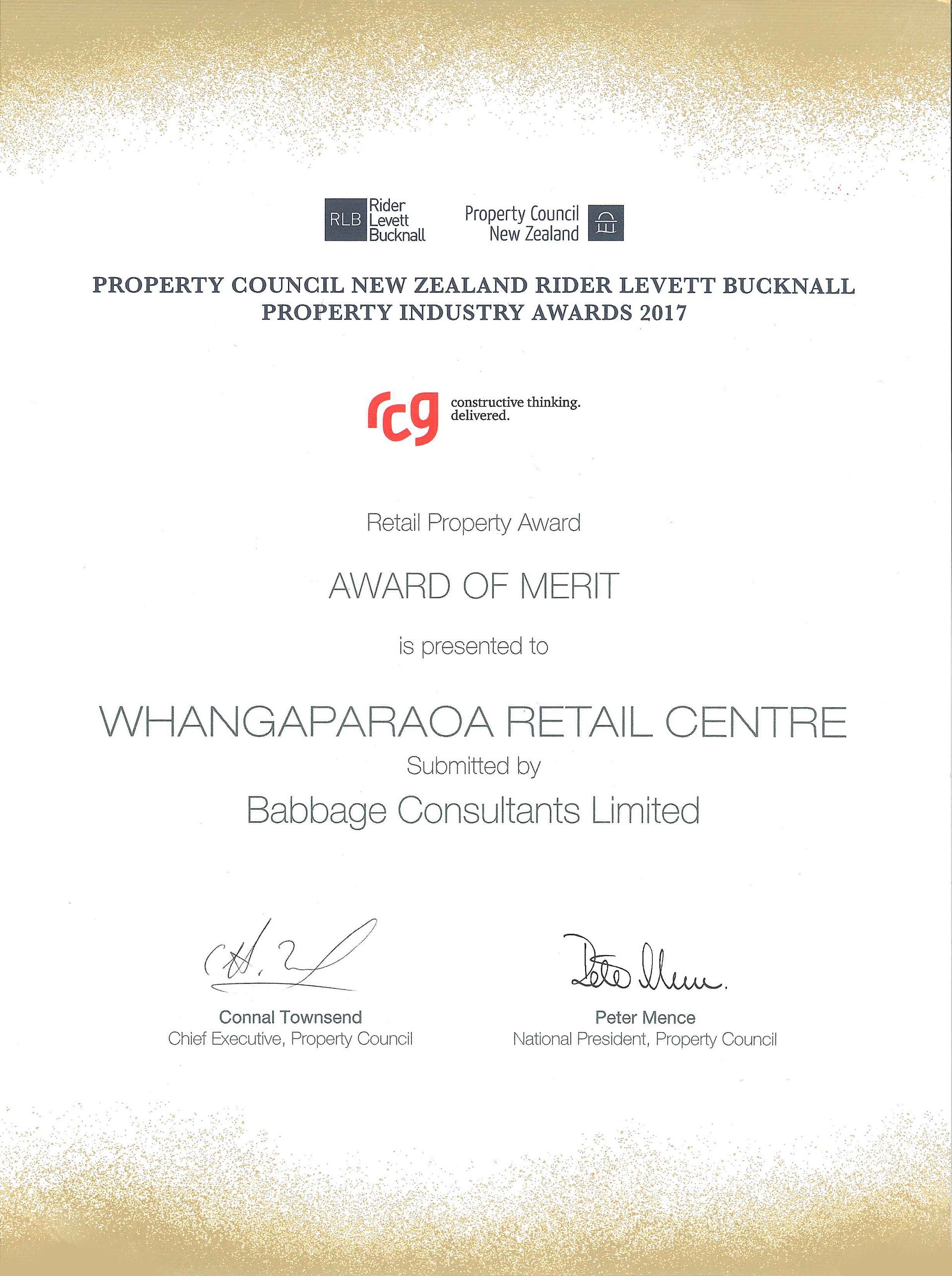 Image Property Council Award of Merit - Whangapaoroa Retail Centre 2017