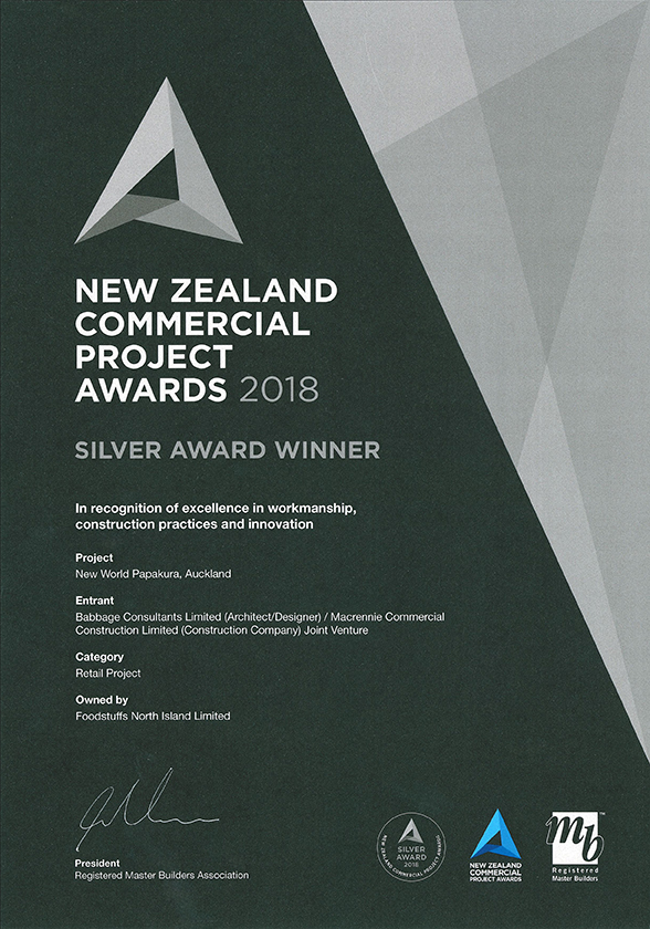 NZ Commercial Projects Award Silver NW Papakura