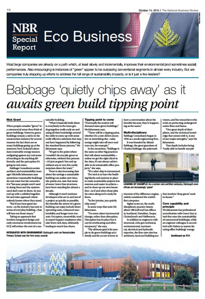 NBR Eco Business insert features Babbage Consultants.