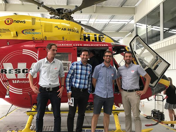 Flying to the rescue - from left to right - Jonathan Callaghan, Milad Arminansour, Mark Yungnickel, Matt Harris of our Christchurch team are competing to fundraise for the Canterbury West Coast Air Rescue Trust.